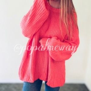Slouchy Plus Size Neon Coral Raglan Pullover